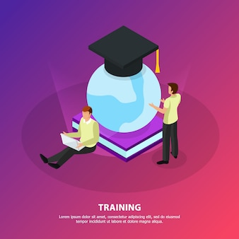 Online training without borders isometric  with people looking at glow globe covered with square academic cap