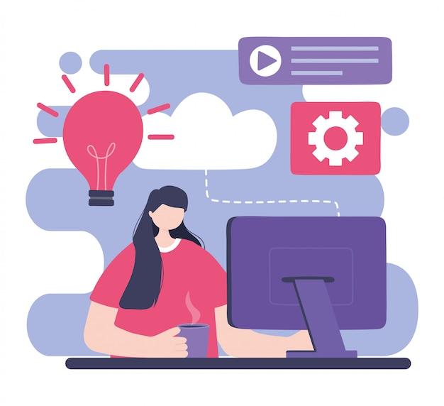 オンライントレーニング、コンピューターのウェブサイトのコンテンツ、教育、デジタルイラストを学ぶコースを持つ女性