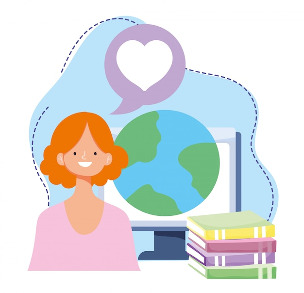 Online training, woman with computer world and books, courses knowledge development using internet