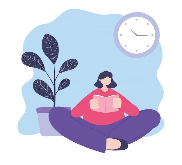 オンライントレーニング、床に座って本を読む若い女性、教育、デジタルイラストを学ぶコース