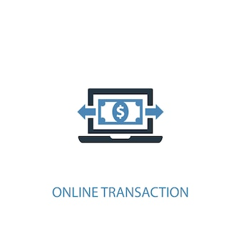 온라인 거래 개념 2 컬러 아이콘입니다. 간단한 파란색 요소 그림입니다. 온라인 거래 개념 기호 디자인입니다. 웹 및 모바일 ui/ux에 사용할 수 있습니다.