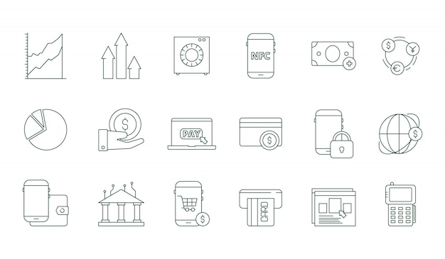 Online transaction icon. internet banking safety money web transfer and payments finance  line symbols set