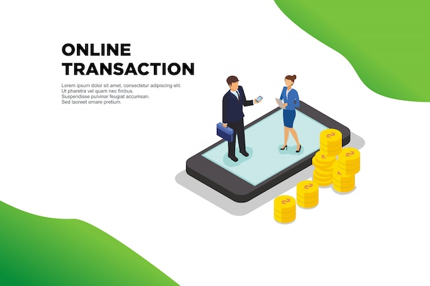 Online transaction isometric illustration
