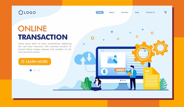 Online transaction landing page illustration template