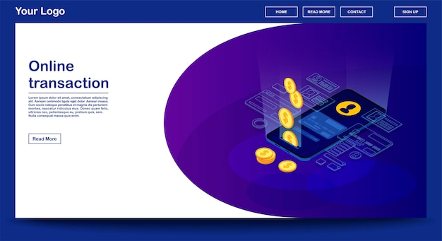Online transaction webpage template with isometric illustration