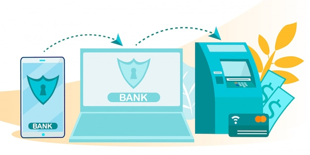 Online transactions and e-banking system flowchart