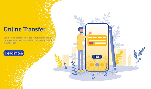 Online transfer background with hand holding smartphone and press send button