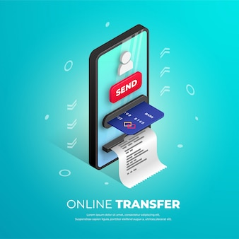 Online transfer banner design. mobile bank isometric template with smartphone atm, credit card, user icon and button. online payment 3d concept, sending money  illustration for web, apps, ad