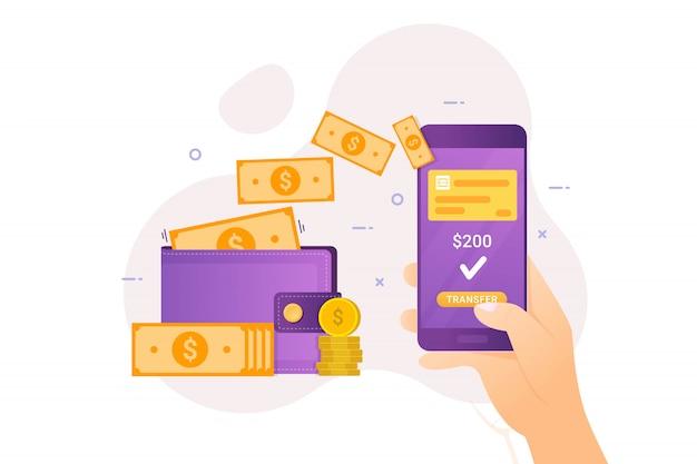 モバイルバンキングによるオンライン送金 Premiumベクター