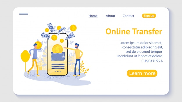 Online transfer with hand holding smartphone and press send button, template, web, poster, banner, mobile app, ui.