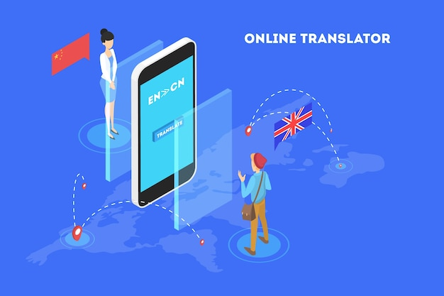 Online translator in mobile phone illustration