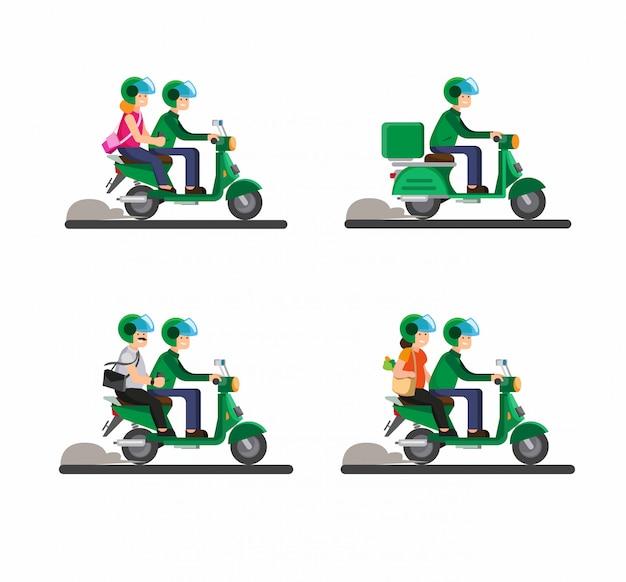 Online transportation biker, motorcycle, tandem, passenger, couple together riding motorcycle illustration
