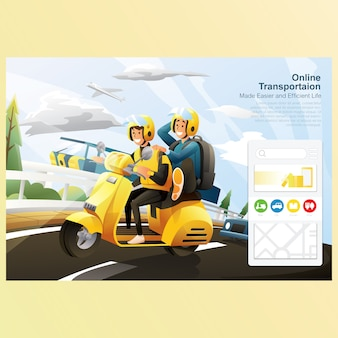 Online transportation riding bike on road with car with sky background
