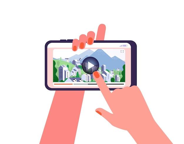 온라인 여행 가이드. 전화, 관광 명소에 비디오. 여자는 라이브 스트림이나 인터넷 여행 삽화를 봅니다. 디지털 멀티미디어 벡터입니다. 일러스트레이션 온라인 여행 스마트폰, 네트워크 콘텐츠 채널