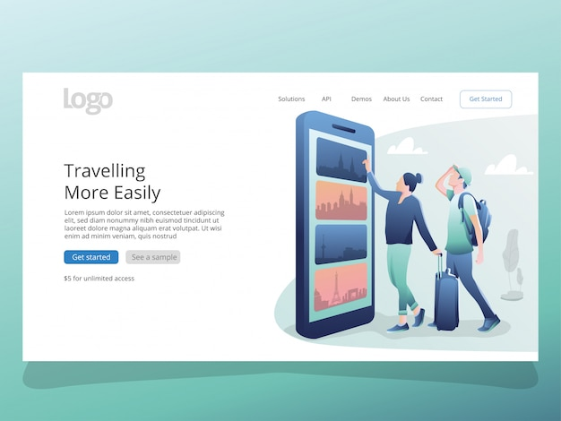 Online travel illustration for landing page template
