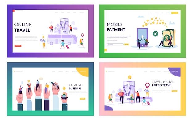 オンライン旅行のランディングページセット。スマートフォンでworldにアクセスしてください。モバイル決済を行い、インターネットで何かを購入し、クリエイティブなビジネスwebサイトまたはwebページを開発します。フラット漫画ベクトルイラスト