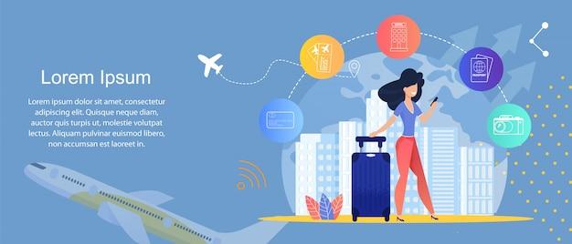 Online travel service. online journey agencies. template