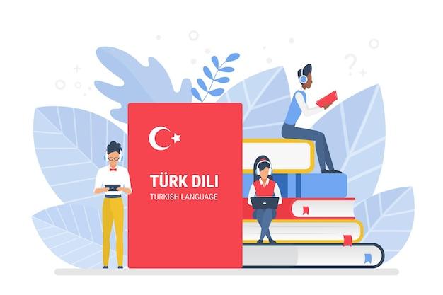 Online turkish language courses, remote school or university concept