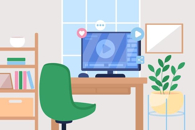Онлайн-учебник с плоским цветом. рабочая станция для просмотра вебинара. потоковый канал. видео трансляция. комната с настольным компьютером 2d мультфильм интерьер с мебелью
