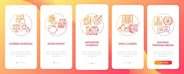 オンライン家庭教師は、コンセプトを備えたモバイルアプリページ画面のオンボーディングに役立ちます。やる気のある学生のウォークスルーrgbカラーイラスト付きの5ステップのuiテンプレート