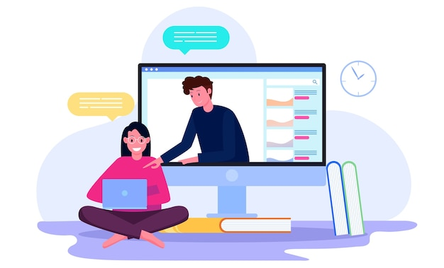 Online tutoring by students with teachers on the screen illustration concept