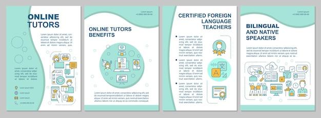 온라인 교사 브로셔 템플릿. 전단지, 소책자, 전단지 인쇄, 선형 아이콘이있는 표지 디자인. 이중 언어 교육. 잡지 레이아웃, 연례 보고서, 광고 포스터