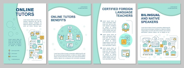 Online tutors brochure template. flyer, booklet, leaflet print, cover design with linear icons. bilingual education.  layouts for magazines, annual reports, advertising posters
