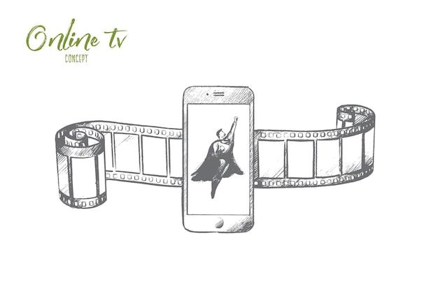 Концепция онлайн-телевидения. ручной обращается супергерой на экране смартфона. символ мультимедийных развлечений