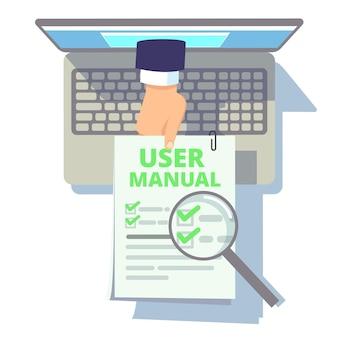 オンラインユーザーガイド。 webマニュアル、指示または情報を保持しているラップトップ画面からの手。小冊子、クライアントサービスベクトルイラスト付きフラットコンピューター。オンライン情報指導、ヘルプサービスガイド
