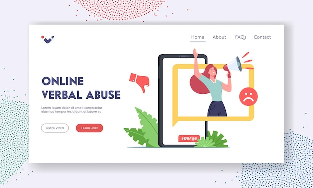 Online verbal abuse landing page template. cyberbullying attack, bully network abuse and harassment. cyber bullying problem. hater character insult over internet. cartoon people vector illustration
