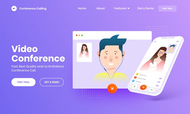 Online video calling concept with smartphone screen