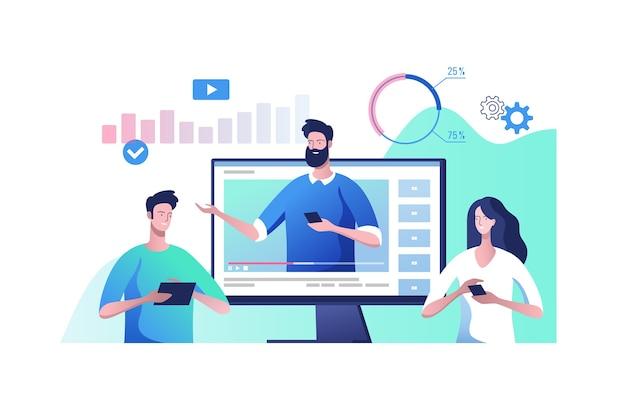 オンラインビデオ通信。ビデオプレゼンテーションとビジネストレーニングの概念。