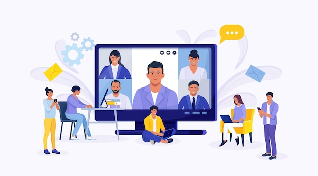 Online video conference colleagues talk to each other on computer screen. tiny people e-learning by webinar training, tutorial podcast concept. teacher conducts online meeting with students