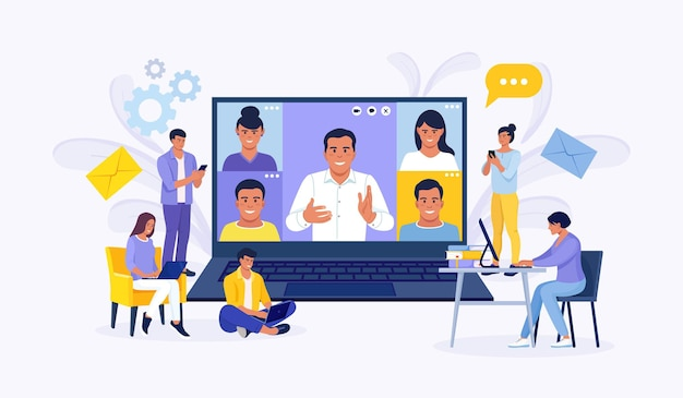 Online video conference colleagues talk to each other on the laptop screen. tiny people e-learning by webinar training, tutorial podcast concept. teacher conducts online meeting with students