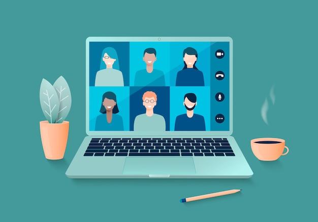 Онлайн-видеоконференция или дистанционное обучение, работа дома с ноутбуком.