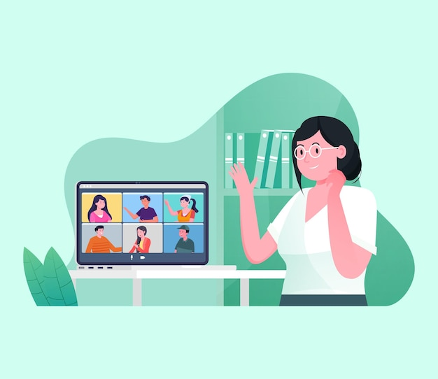 Online video conferencing from home illustration