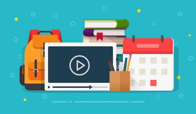 オンラインビデオコースまたはウェビナー遠方トレーニングイラストフラット漫画