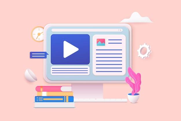 オンラインビデオ距離トレーニングストリーミングウェビナー会議ビデオ3dweb