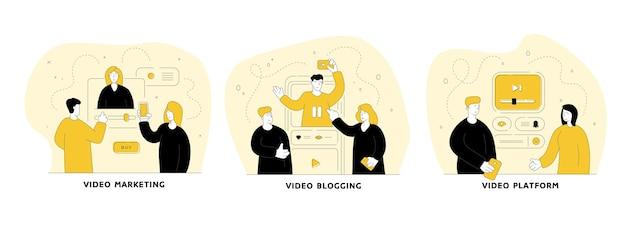 Набор онлайн видео плоской линейной иллюстрации. видеомаркетинг, видеоплатформа, видеоблоггинг. концепция социальных сетей. герои мультфильмов мужчин и женщин