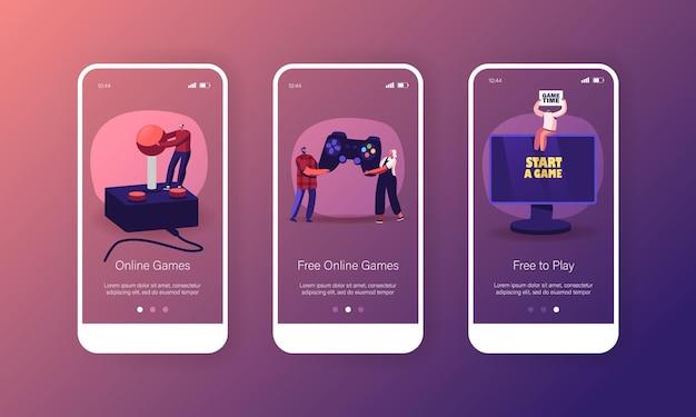 온라인 비디오 게임 모바일 앱 페이지 온보드 화면 템플릿 프리미엄 벡터