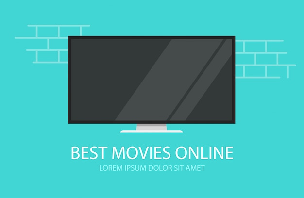 Online video movies or tv cinema  flat cartoon illustration banner