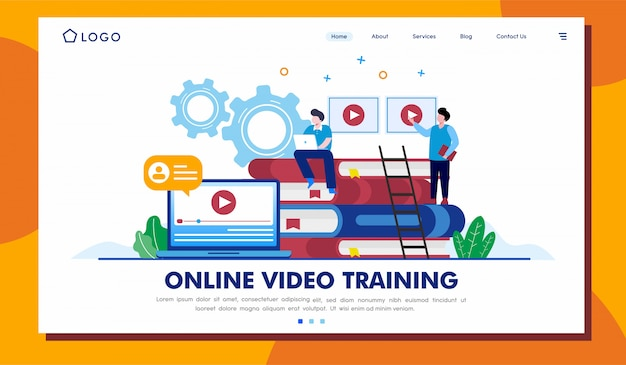 Online video training landing page website illustration