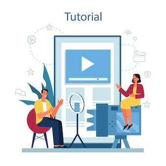 オンラインビデオチュートリアルサービスまたはプラットフォーム。デジタルトレーニングと遠隔教育。コンピュータを使ってインターネットで勉強する。ビデオウェビナー。漫画スタイルの孤立したイラスト