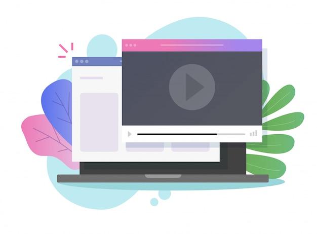 コンピューターのラップトップで見ているオンラインビデオウェビナーチュートリアル