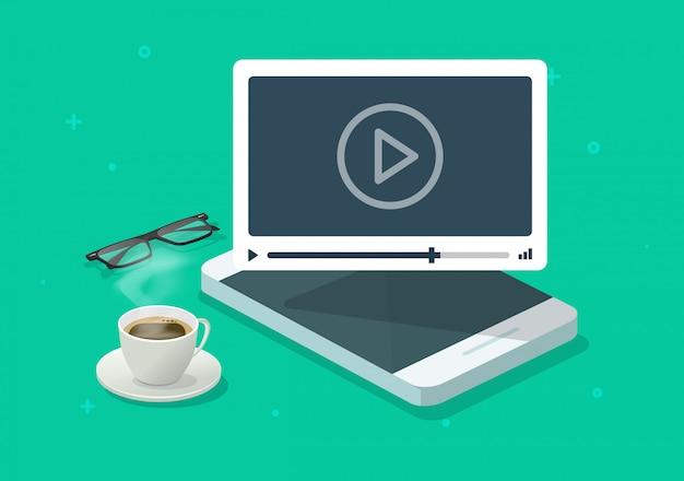 携帯電話の作業机やスマートフォンのwebコースやチュートリアルベクトルフラット漫画イラストを見てオンラインビデオウェビナー