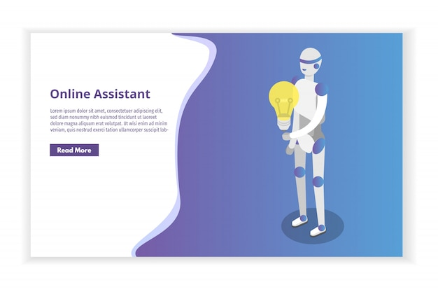 Online virtual assistant, chat bot isometric concept.  illustration.