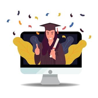 Виртуальный выпускной онлайн-видео веб-конференция выпускной вечер для старшеклассников. вектор