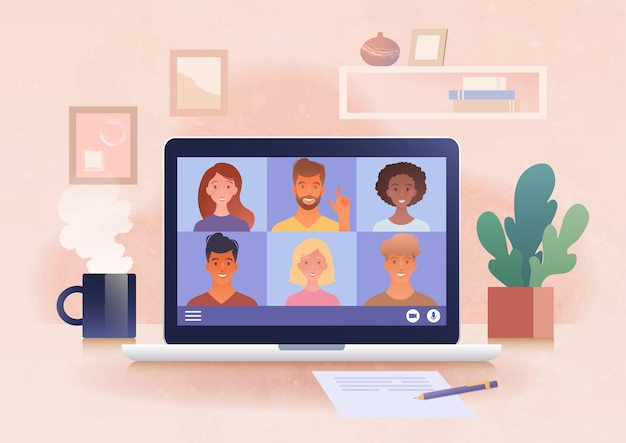 랩톱 컴퓨터를 사용하여 홈 오피스에서 화상 회의를 통해 온라인 가상 그룹 회의 개최