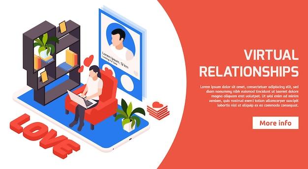 Онлайн виртуальные отношения и знакомства изометрический горизонтальный баннер