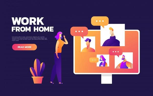 オンライン仮想リモート会議、tvビデオweb会議電話会議。会社のceo、社長、社長、上司、従業員チームが在宅勤務。
